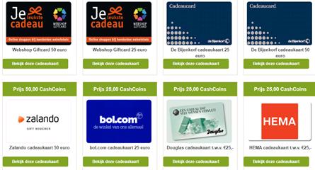 Cashbackkorting uitbetalen cadeaubonnen